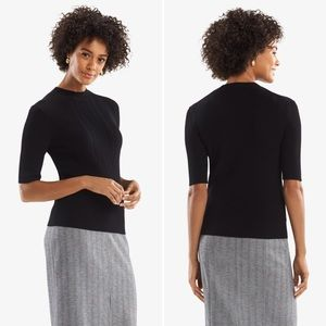MM Lafleur Anita Black Ribbed Short Sleeve Sweater